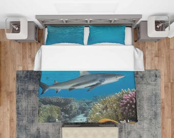Underwater Bedding, Shark Duvet Cover, Underwater Duvet Cover, Shark Bedding, Bedding Underwater