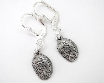 Hawaiian Jewelry Shell Beach Dangle Earrings Abalone Shell Antiqued Silver Tone Silver Plated Lever Back