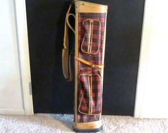 Red Tartan Plaid Vintage Golf Bag