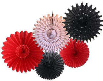 Caribbean Red, White, & Black Tissue Paper Fan Collection (5 fans, 13-18 inches)