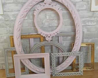 Gallery frames,gallery wall,vintage frames, painted frames,white frames,pink frames,wall frames,hanging frames,10 frames,group of frames