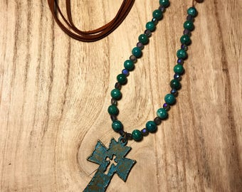 Ready to ship/ Long blue green cross necklace