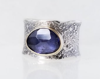 Blue Iolite Stone Ring , Fused Ring, One of a kind, Handmade, blue stone,