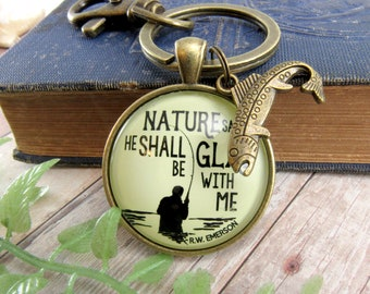Dad Fishing Keychain Nature Men's Fisherman Gift Rustic Outdoorsman Father's Day Key Chain From Daughter Wife  Sportsman Gift Fish Charm