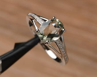 genuine natural green amethyst ring engagement ring oval cut solid sterling silver ring green gemstone ring