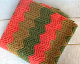 Large vintage 70s hand crocheted afghan blanket Rippled Chevron knitted blanket gold green orange Retro sofa throw Mid Century Lodge decor