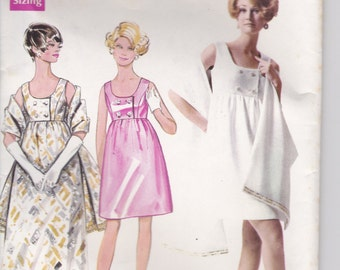 1960's Sewing Pattern - Butterick 5212 One piece Evening Dress and Stole Size 16 Uncut Factory Folded