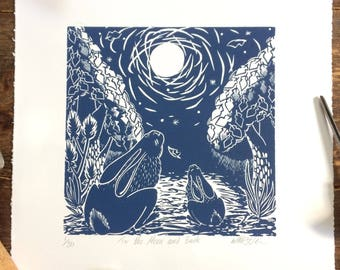 Original Hand Printed Linocut Print - To the Moon and Back