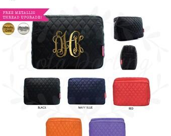 Quilted Monogram Cosmetic Bag/makeup bag/pencil case/zipper pouch