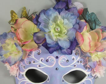 Fairy Flower Crown in Lavender and White, Leather Masquerade Mask, OOAK