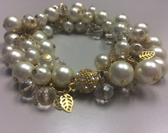 Pearl and crystal chunky bracelet