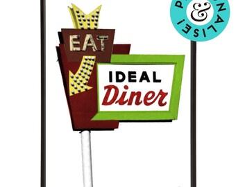 Retro Diner Sign Americana Pop Art Prints Kitchen Wall