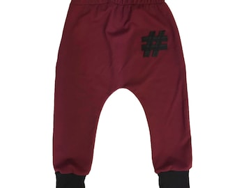 Maroon Hashtag Harems or Leggings  -  Baby Pants - Toddler Pants - Baby Leggings - Toddler Leggings - Baby Clothing - Kids Clothes