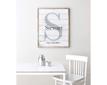Family Name Print, Family Name Sign, Personalized Family Print, Gallery Wall Print, Personalized Wedding Gift Print, Wood Art, DIGITAL PRINT