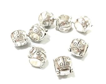 X 5 10mm metal Ladybug beads