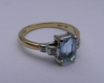 Aquamarine & Diamond Ring 18ct