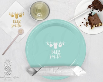 Clothesline Baby Shower | Customizable Plates, Napkins, Cups or Stir Stick | social graces Co