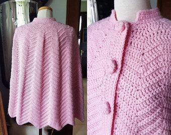 Vintage Crocheted Pink Poncho, Vintage Pink Capelet, Vintage Pink Wrap, Vintage Pink Outerwear, Bohemian Poncho, Boho Pink Wrap, Retro