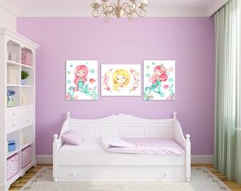 Mermaid Wall Art, Mermaid Bedroom, Mermaid Bathroom Art, Mermaid Decor, Mermaid Nursery Decor, Little Girls Room, Mermaid Art Print