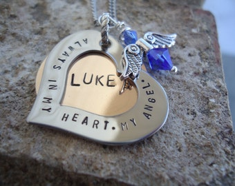 Baby Loss Angel Necklace with Name - Personalized Hand Stamped Necklace - In Loving Memory Necklace - Sympathy Gift - Loss of an Angel