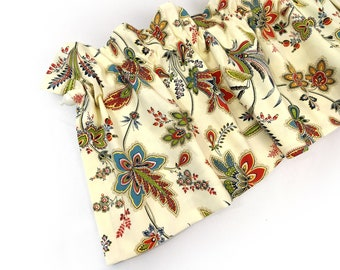 SHILOH Kitchen Valance Curtains Cream Flowers Leaves 44 inches wide Kitchen Window Valance Curtain Bay Window Panel Eva Clements Banana