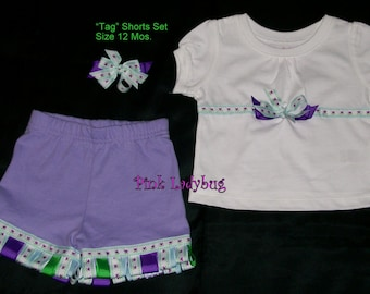 Upscaled New Lavender Tag Shorts Set with Hair Bow is ready to Ship in Size 12 Mos.