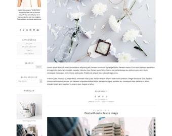 "Blogger Template - Photography Blog Design - Wide Blog Layout - Blogspot Minimalist Theme - premade Blogger Template ""17"""