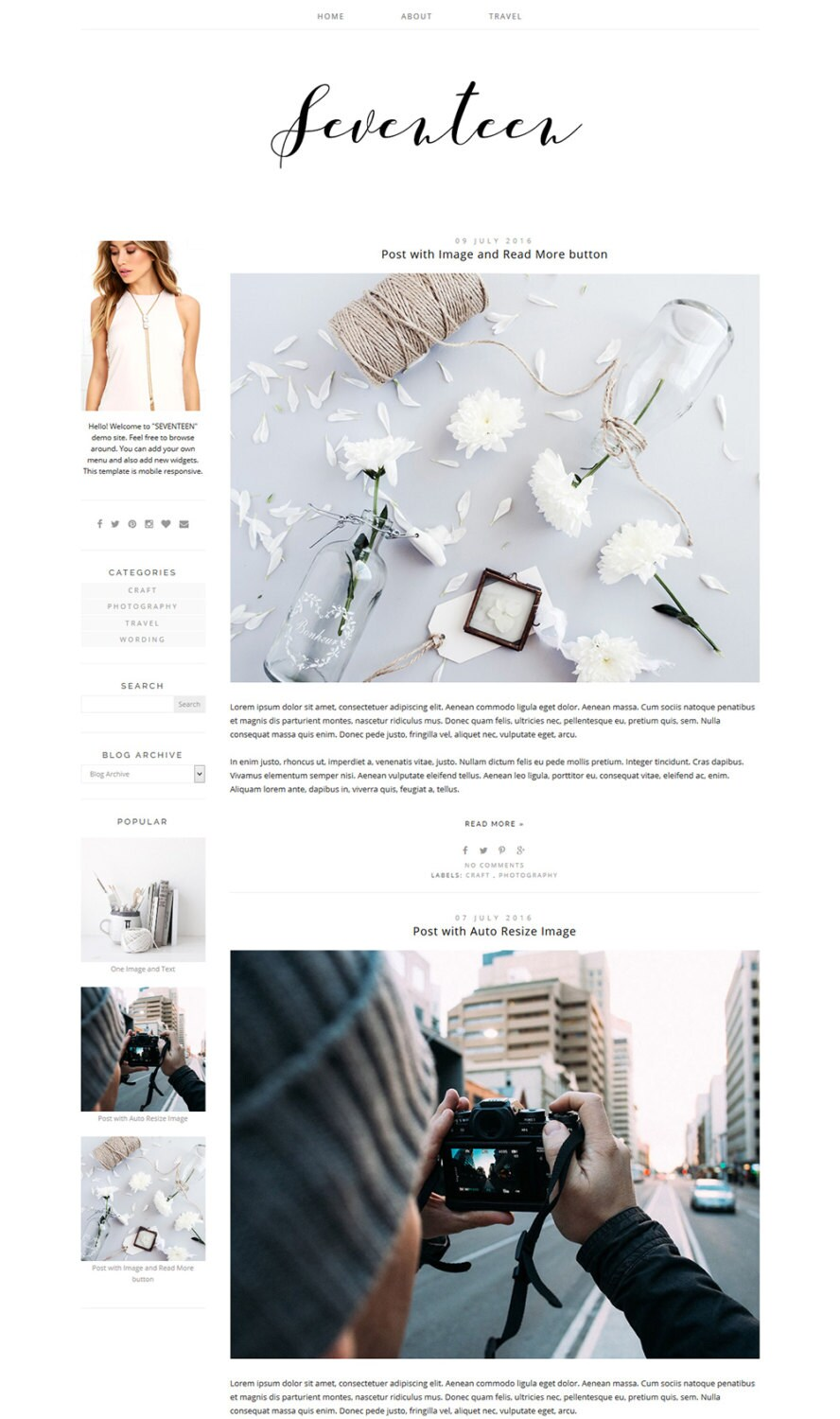 Blogger Template Photography Blog Design Wide Blog Layout