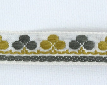 "Clubs & Clover Jacquard Ribbon, Vintage Sewing Trim, Tyrolean Trim, Clover Ribbon, Irish Trim, Geometric Ribbon, Sewing, 5/8"" wide, 3 yards"