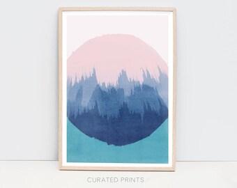 Abstract Printable Blue Salmon Pink Green Circle Watercolor Wall Art Painting Digital Download