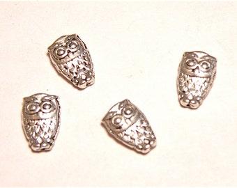 40% OFF -- Twelve (12) Dainty Owl Silvertone Spacer Beads