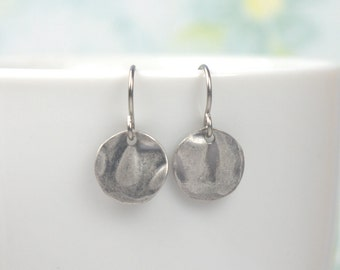 Tiny Antique Silver Dangle Earrings, Hammered Antique Silver Earrings, Small Drop Earrings, Small Hammered Silver Earrings, #781