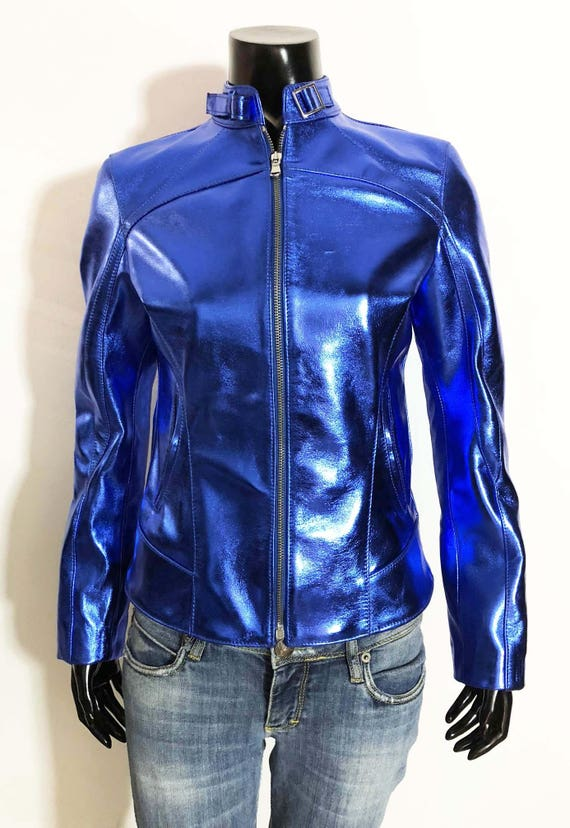 slim METALLIC soft Women leather handmade color BLUE jacket fit Italian lambskin genuine 0FqvxSw