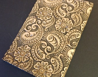 Flowers and Paisley Leather Journal Cover