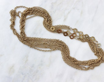 Vintage 1960s Multi Strand Necklace Gold Chain Long 62 Inch Signed PARK LANE