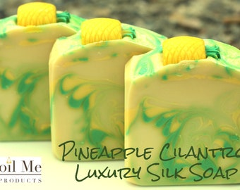Pineapple Cilantro  Luxury Silk Soap/Luxury Silk Soap/Artisan Soap/Cold Processed Soap/Handmade Soap/Soap/Pineapple Soap/Fruit Soap
