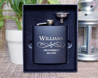 Monogrammed flask, Personalized flask, Engraved flask, Groomsman Gift, Black Matte Flask, Groomsman flask, Custom flask, hip flask. FL009