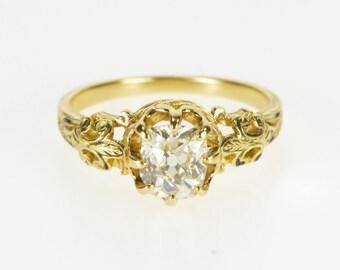 14K 1.00 Ct Ornate Elaborate Diamond Engagement Ring Size 6 Yellow Gold