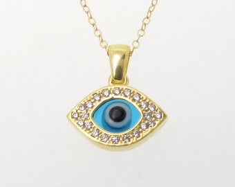 Evil Eye Necklace, Sterling Silver Or Yellow Gold Vermeil With CZ's - As Seen On Ashley Tisdale
