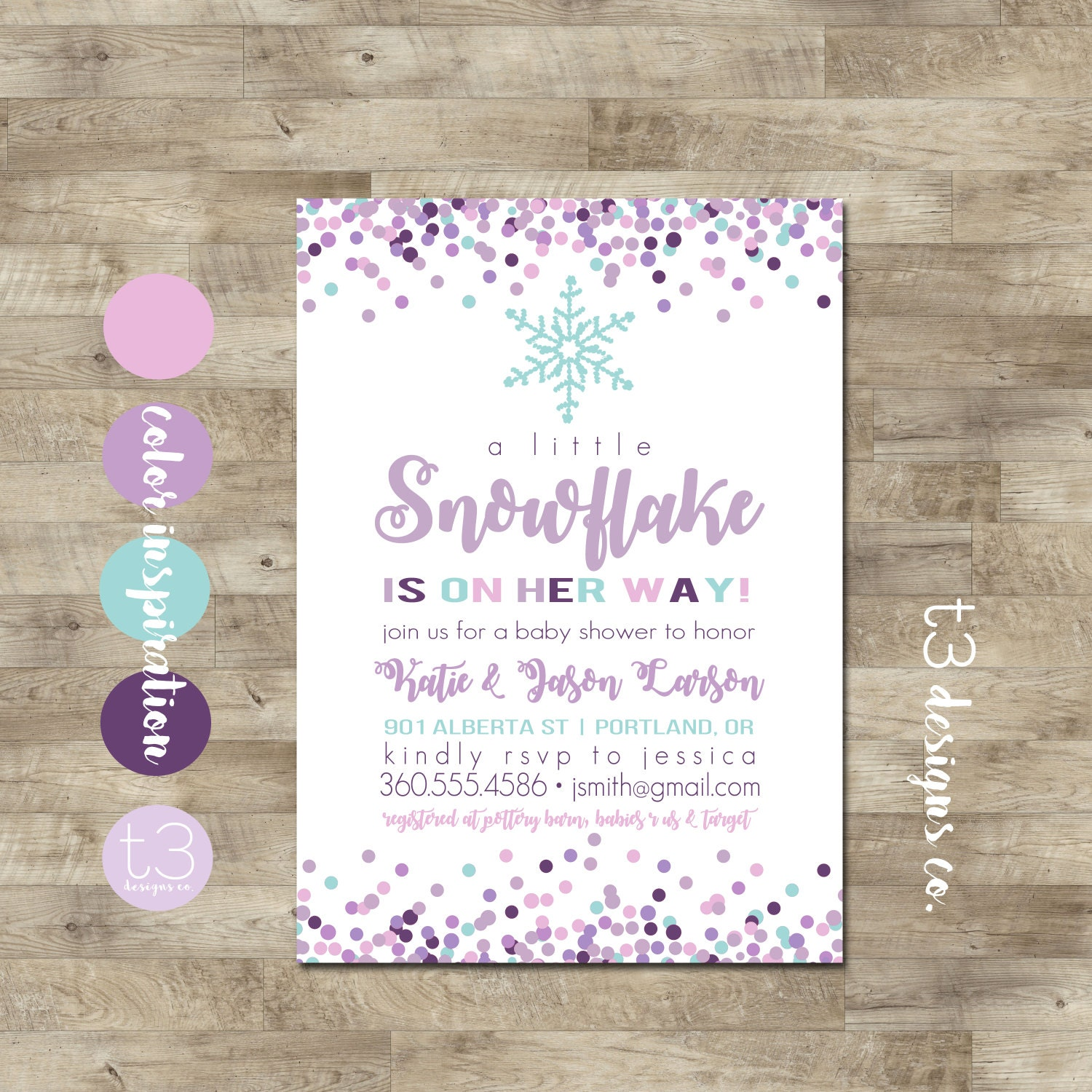 Girl Snowflake Baby Shower Invitation, Winter Baby Shower Invitation ...