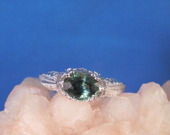 1.89 ct. Oval Blue-Green Tourmaline Ring Sterling Silver