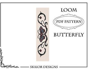 Loom Bead Pattern Bracelet Butterfly Bracelet Tribal Tattoo Square Stitch Pattern Seed Beads Beading Pattern red blue Fantasy Bead Weaving