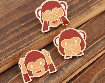 Emoji Brooches - Wise Monkeys