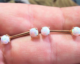 Rose Gold Plated White Opals(5mm) Nipple Piercing Barbels Set(price for 2) 14g..12mm