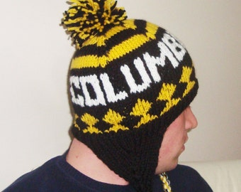 Winter hats for men's hats with ear flaps personalized knit Columbus Crew gift for man, fast shipping, black, yellow, white