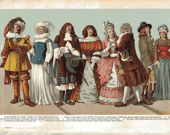 1904 COSTUMES of the Time of the Revolution Book Print Illustration