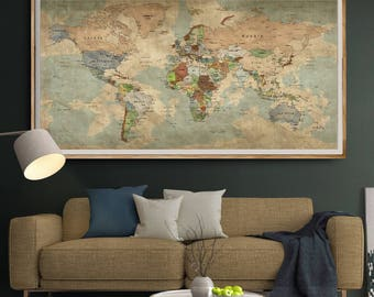Push pin map etsy antique world map gumiabroncs Gallery