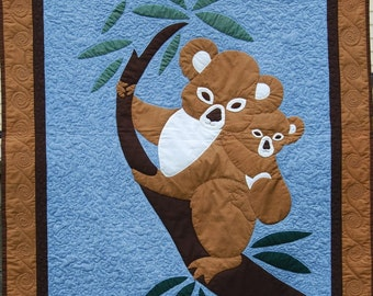 Koala Bear Quilt- Crib-Toddler-Wallhanging Baby- Handmade - Hand Appliquéd