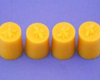Honeybee Bees Wax Candles, 4 Pack of Beeswax Votive Candles, Organic Beeswax Candles, Bee Wax Candles, Beeswax Votives, Canadian Beeswax
