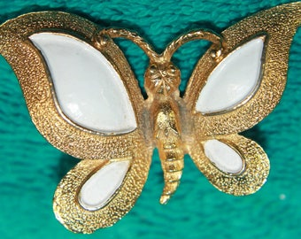 Vintage Florenza Enameled Butterfly Pin Brooch, Sparkley Excellent condition !